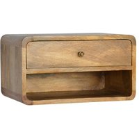 Bacon Wooden Wall Hung Bedside Cabinet In Oak Ish With 1 Drawer