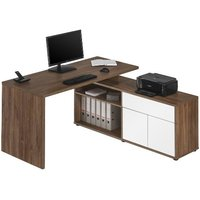 image-Bacup Wooden Computer Desk In Dark Oak And White Gloss