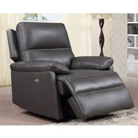 Product photograph showing Bailey Faux Leather Electric Recliner Armchair In Grey