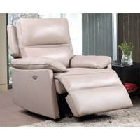 Product photograph showing Bailey Faux Leather Electric Recliner Armchair In Taupe