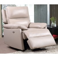 Product photograph showing Bailey Faux Leather Recliner Armchair In Taupe