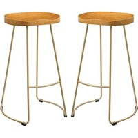 Bailey Gold Effect Leg Bar Stool In Pair With Pine Wood Seat