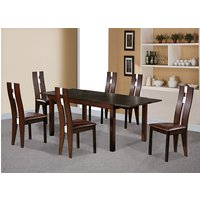 Baltic Extending Dining Set In Dark Walnut With 6 Chairs