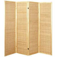 image-Bamboo 4 Panel Folding Room Divider In Natural