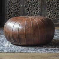 Product photograph showing Banbrik Faux Leather Pouffe In Brown