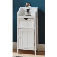 Product photograph showing Bangor Wooden 1 Door 1 Drawer Bathroom Storage Cabinet In White