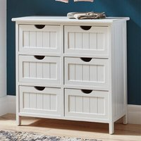Product photograph showing Bangor Wooden 6 Drawers Bathroom Storage Cabinet In White