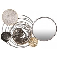 Product photograph showing Banks Metal Wall Art In Silver And Gold With Mirror