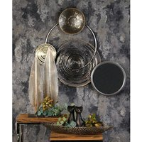 Product photograph showing Banks Metal Wall Art In Silver And Grey With Mirror