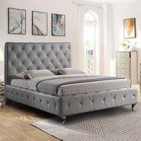 Barberton Plush Velvet Single Bed In Grey