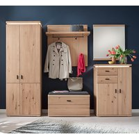Barcelona LED Hallway Furniture Set In Planked Oak With Wardrobe