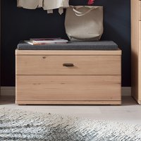 Product photograph showing Barcelona Wooden Shoe Storage Bench In Planked Oak