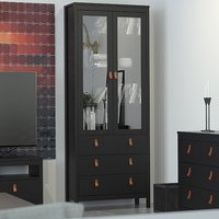 Barcila 2 Doors 3 Drawers Display Cabinet In Matt Black