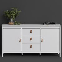 Barcila 2 Doors 3 Drawers Wooden Sideboard In White