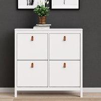 Barcila 4 Compartments Shoe Storage Cabinet In White