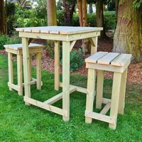 Product photograph showing Barkingside Wooden Outdoor Bar Table With 2 Stools