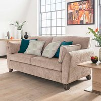 Product photograph showing Barresi Chenille Fabric Three Seater Sofa In Almond Finish