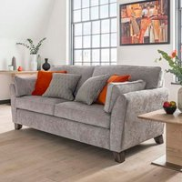 Product photograph showing Barresi Chenille Fabric Three Seater Sofa In Silver Finish