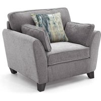 Product photograph showing Barresi Fabric 1 Seater Sofa In Grey With Wooden Legs