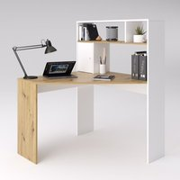 Product photograph showing Barrys Wooden Computer Desk In Artisan Oak And White