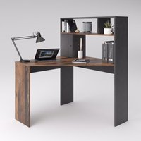 Product photograph showing Barrys Wooden Computer Desk In Old Style Dark And Matera