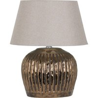 Product photograph showing Basil Metallic Ceramic Table Lamp In Bronze With Beige Shade