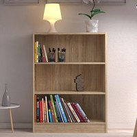Product photograph showing Baskon Wooden Low Wide 2 Shelves Bookcase In Oak