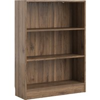 Product photograph showing Baskon Wooden Low Wide 2 Shelves Bookcase In Walnut