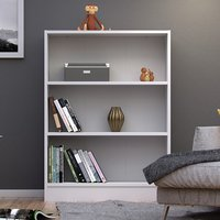 Product photograph showing Baskon Wooden Low Wide 2 Shelves Bookcase In White