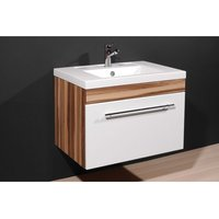 Product photograph showing Impuls Baltimore Walnut White Bathroom Vanity With Wash Basin