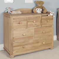 Product photograph showing Amila Oak Wooden Childrens Changer Cum Chest Of Drawers