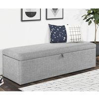 Product photograph showing Baylin Linen Fabric Upholstered Blanket Box In Light Grey