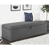Product photograph showing Baylin Linen Fabric Upholstered Blanket Box In Slate Grey