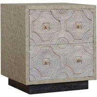 Bazaar Wooden Bedside Cabinet In Acid Wash And Leatherite