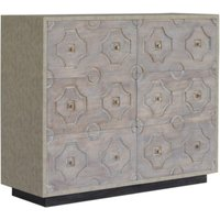Product photograph showing Bazaar Wooden Chest Of 6 Drawers In Acid Wash And Leatherite