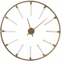Product photograph showing Beauly Metal Round Wall Clock In Gold