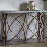 Product photograph showing Beckfield Console Table In Aged Bronze With Mirror Top