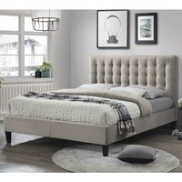 Product photograph showing Becky Fabric Double Bed In Champagne