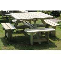 Product photograph showing Becontree Square Wooden 8 Seater Picnic Dining Set