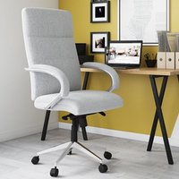 Product photograph showing Bedford Designer Fabric Home And Office Chair In Grey