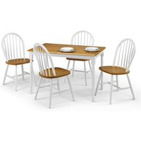 Beecher Dining Table In White And Oak With Four Dining Chairs