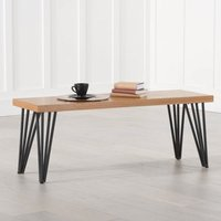 Baid Wooden Dining Bench In Oak With Black Metal Legs