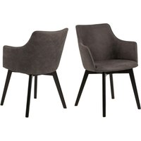 Belacon Anthracite Fabric Dining Chairs With Armrest In Pair