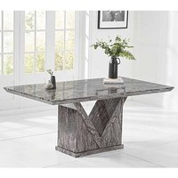 Balchor Marble Large Dining Table In Grey With V Shape Base