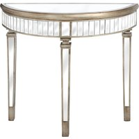 Product photograph showing Belfro Mirrored Glass Half Moon Console Table In Champagne