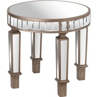 Product photograph showing Belfro Mirrored Glass Round Side Table In Champagne