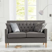 Bellard Fabric 2 Seater Sofa In Grey And Natural Ash Legs