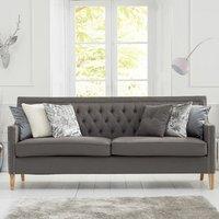 Ballark Fabric 3 Seater Sofa In Grey And Natural Ash Legs