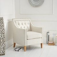 Bellard Fabric Sofa Chair In Ivory White With Natural Ash Legs
