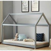 Bellerby Wooden Single House Bed In Grey
